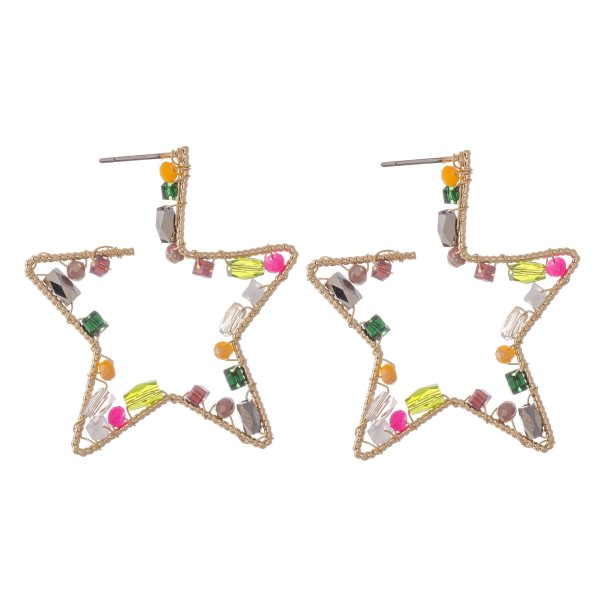 Wire Wrapped Multi Beaded Star Hoop Earrings.  - Approximately 1.5""