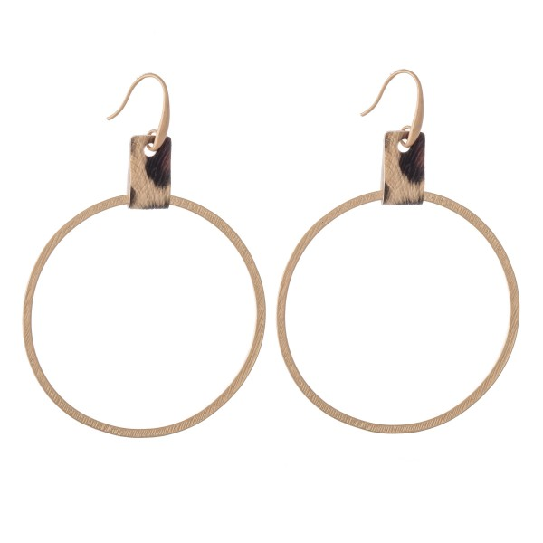 """Circular Drop Earrings Featuring Leopard Print Cuff Detail in Gold.  - Approximately 2.5"""" L  - Approximately 2"""" in Diameter"""
