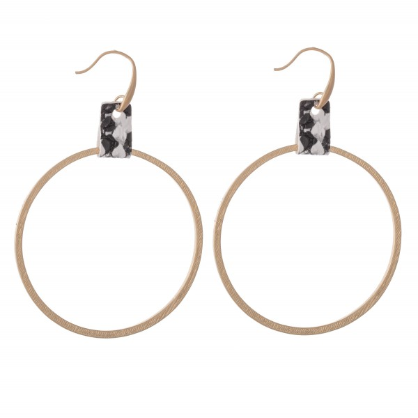 """Circular Drop Earrings Featuring Snakeskin Cuff Detail in Gold.  - Approximately 2.5"""" L  - Approximately 2"""" in Diameter"""