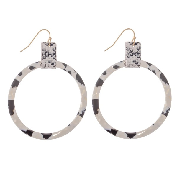 "Resin Drop Earrings Featuring Snakeskin Cuff Accent.  - Approximately 2.5"" L  - Approximately 2"" in Diameter"