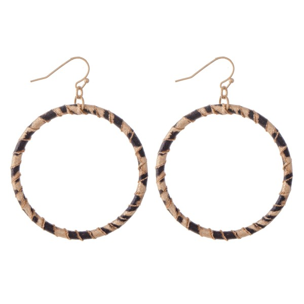 """Faux Leather Leopard Print Wrapped Drop Earrings.  - Approximately 2.5"""" L  - Approximately 2"""" in Diameter"""