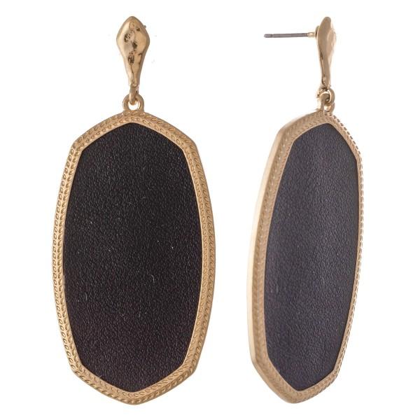 "Metal Encased Faux Leather Oblong Drop Earrings in Gold.  - Approximately 2.5"" L"