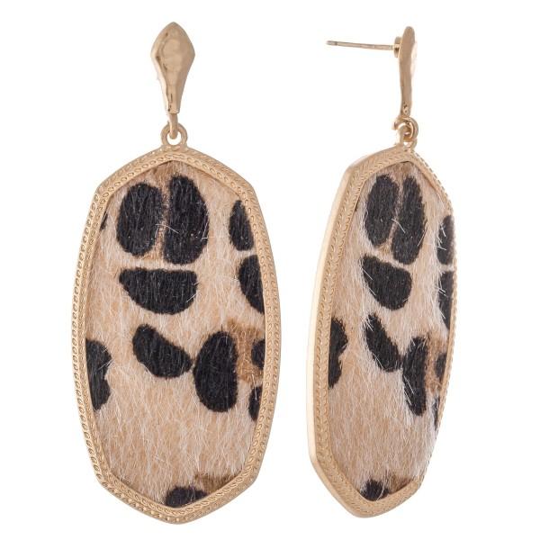 """Metal Encased Leopard Print Oblong Drop Earrings in Gold.  - Approximately 2.5"""" L"""