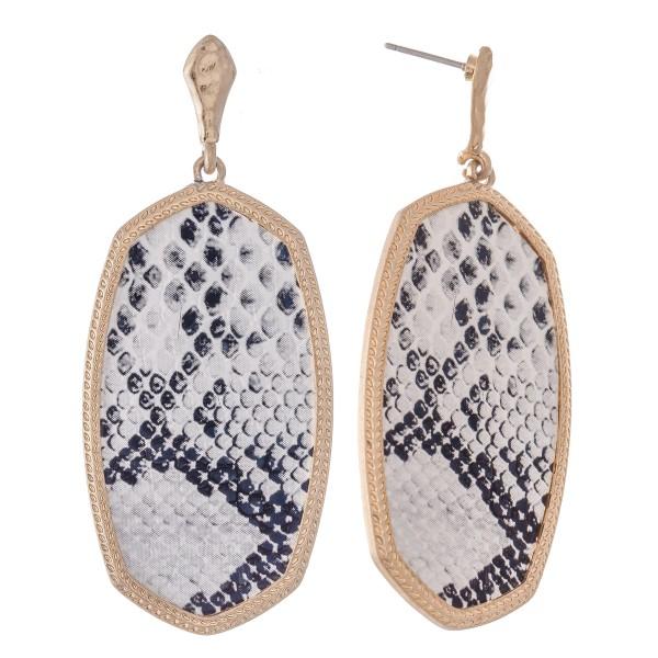 """Metal Encased Snakeskin Oblong Drop Earrings in Gold.  - Approximately 2.5"""" L"""