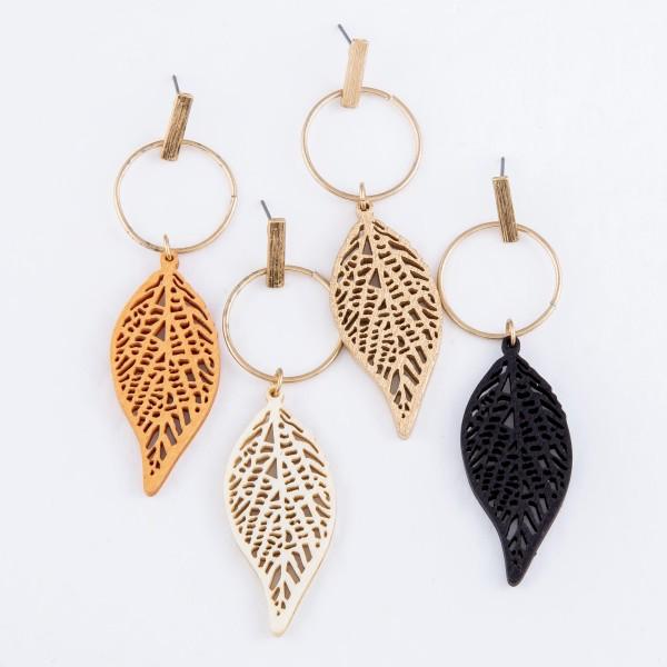 """Wood Laser Cut Leaf Drop Earrings.  - Approximately 3"""" L"""