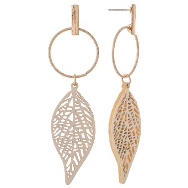 Wholesale wood Laser Cut Leaf Drop Earrings L