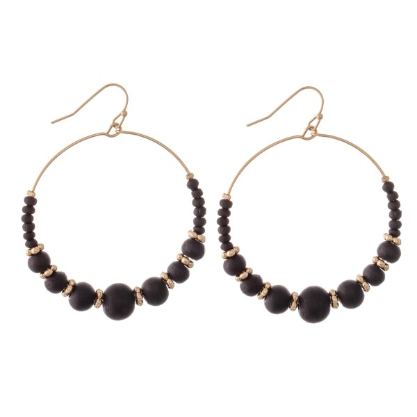 """Wood Beaded Drop Earrings Featuring Flower Spacer Accents in Gold.  - Approximately 2"""" in Diameter"""
