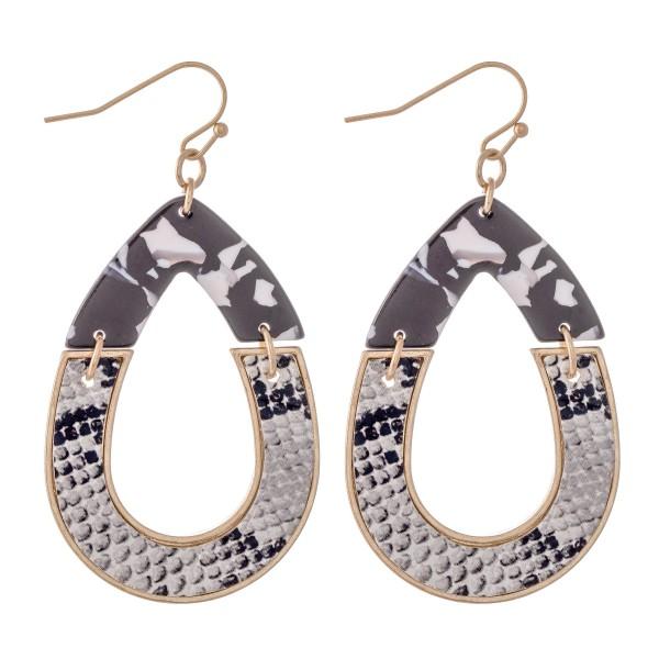 "Resin Snakeskin Hinge Teardrop Earrings.  - Approximately 2"" L"