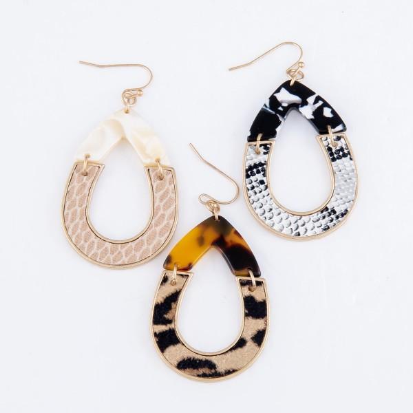 """Resin Animal Print Hinge Teardrop Earrings.  - Approximately 2"""" L"""