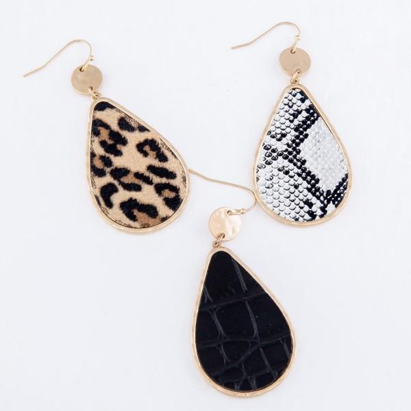 """Metal Encased Leopard Print Teardrop Earrings in Gold.  - Approximately 2.5"""" L"""