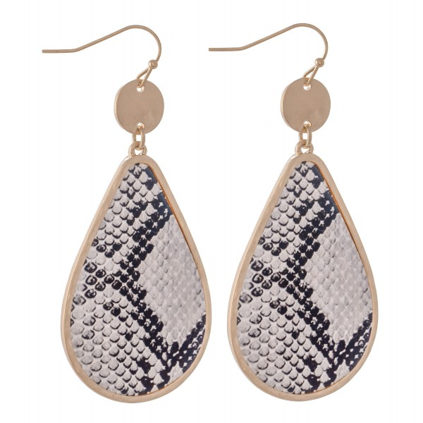 "Metal Encased Snakeskin Teardrop Earrings in Gold.  - Approximately 2.5"" L"