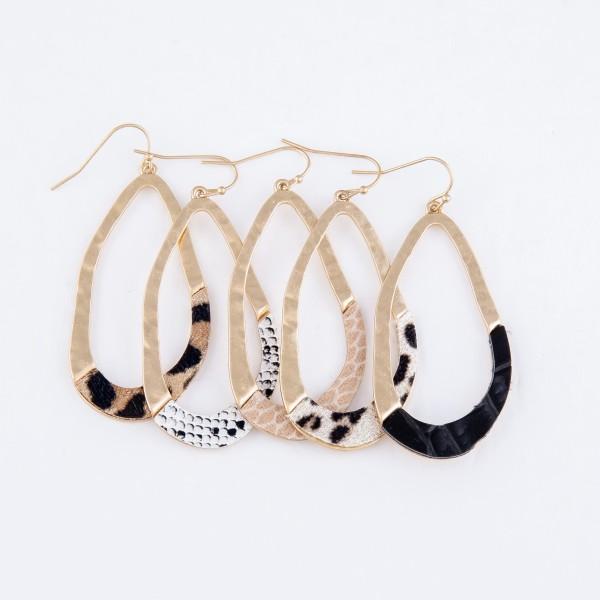 "Hammered Asymmetrical Animal Print Teardrop Earrings.  - Approximately 2.5"" L"