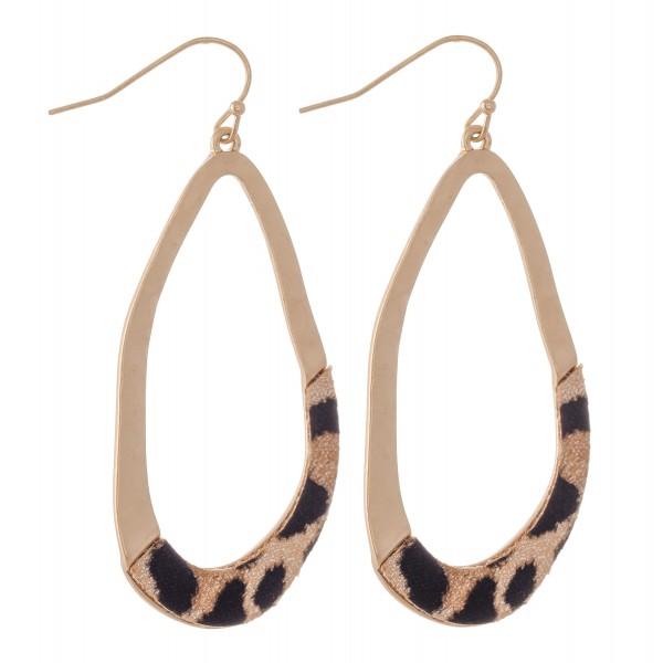 """Hammered Asymmetrical Leopard Print Teardrop Earrings.  - Approximately 2.5"""" L"""