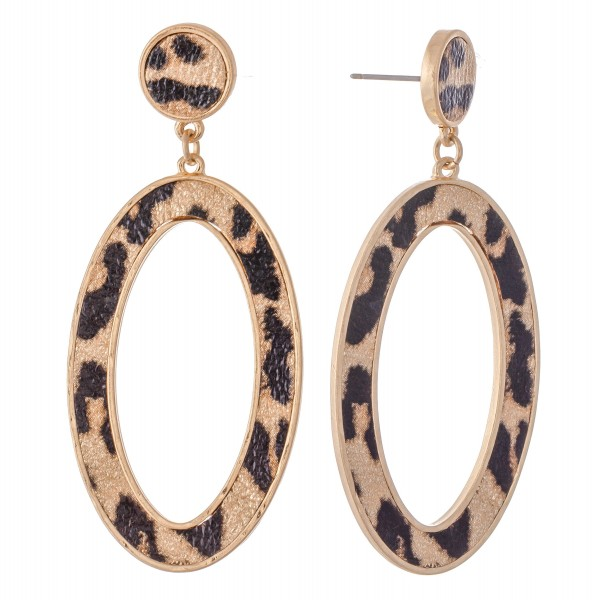 "Metal Encased Leopard Print Oval Drop Earrings in Gold.  - Approximately 2.5""L"