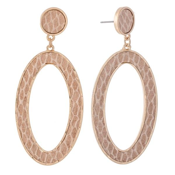 "Metal Encased Animal Print Oval Drop Earrings in Gold.  - Approximately 2.5""L"