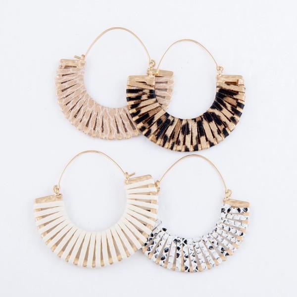 "Faux Leather Leopard Print Wrapped Hoop Earrings.  - Approximately 2"" in Diameter"