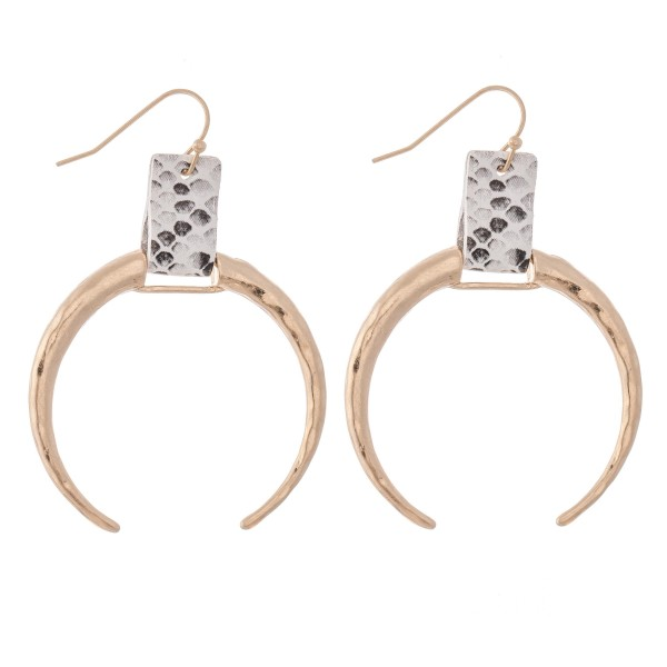 """Hammered Crescent Drop Earrings in Gold Featuring Snakeskin Cuff Detail.  - Approximately 2.5"""" L - Approximately 2"""" in Diameter"""