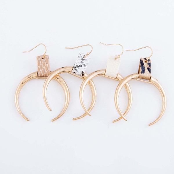 """Hammered Crescent Drop Earrings in Gold Featuring Animal Print Cuff Detail.  - Approximately 2.5"""" L - Approximately 2"""" in Diameter"""