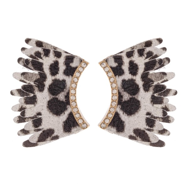 Faux Leather Leopard Print Wing Statement Earrings Featuring Rhinestone Accents.  - Approximately 1.25""