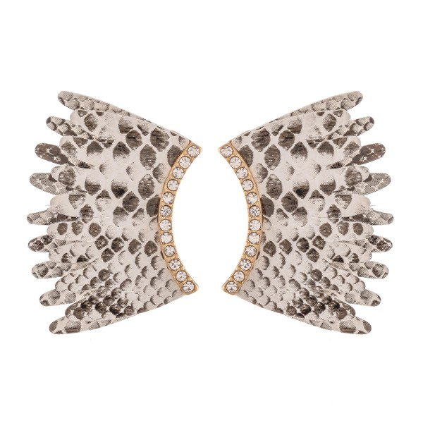 Faux Leather Snakeskin Wing Statement Earrings Featuring Rhinestone Accents.  - Approximately 1.25""