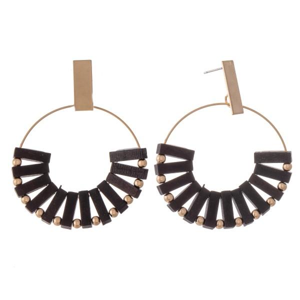 "Wood Bohemian Drop Earrings in Gold.  - Approximately 2.5"" L  - Approximately 2"" in Diameter"