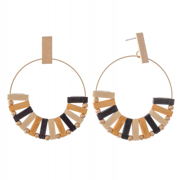 """Multicolor Wood Bohemian Drop Earrings in Gold.  - Approximately 2.5"""" L  - Approximately 2"""" in Diameter"""