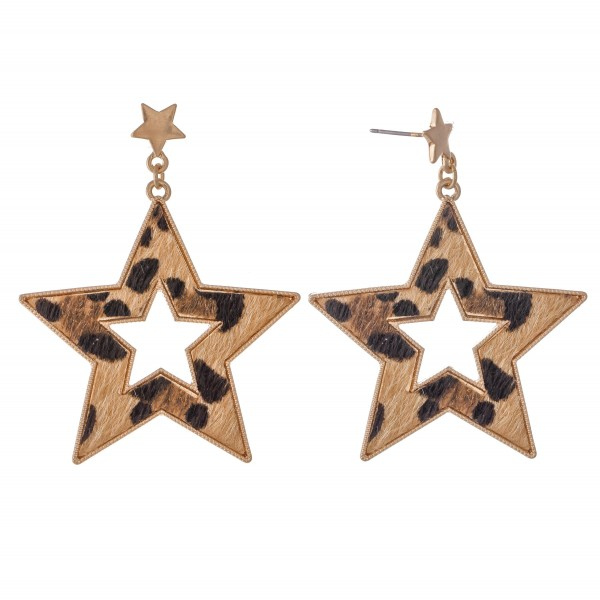 "Metal Encased Leopard Print Star Drop Earrings in Gold.  - Approximately 2"" L"
