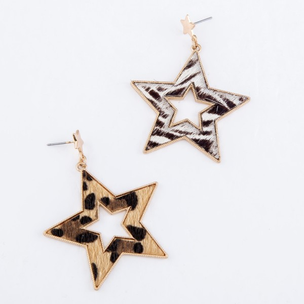 "Metal Encased Zebra Print Star Drop Earrings in Gold.  - Approximately 2"" L"