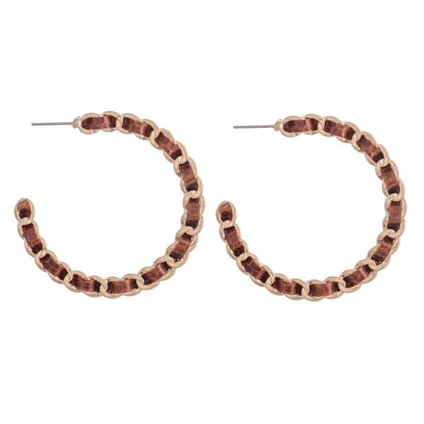 """Faux Leather Animal Print Woven Chain Link Hoop Earrings.  - Approximately 2"""" in Diameter"""