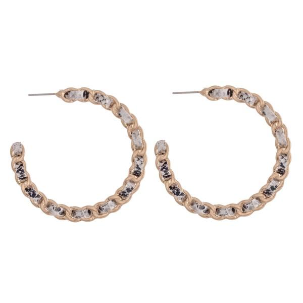 "Faux Leather Snakeskin Woven Chain Link Hoop Earrings.  - Approximately 2"" in Diameter"