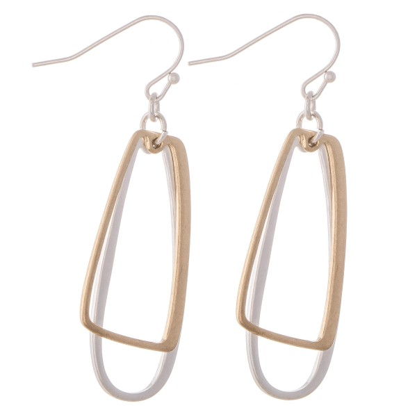 "Two Tone Geometric Dangle Drop Earrings.  - Approximately 2"" L"