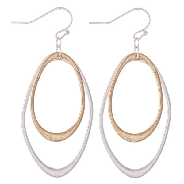 "Two Tone Oval Dangle Drop Earrings.  - Approximately 2"" L"
