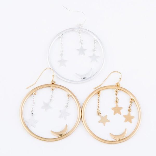 """Star Dangle Moon Drop Earrings.  - Approximately 1.5"""" in Diameter"""