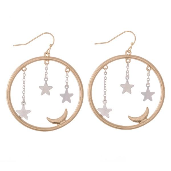 """Two Tone Star Dangle Moon Drop Earrings.  - Approximately 1.5"""" in Diameter"""