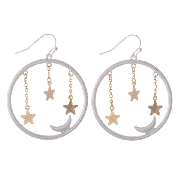 "Two Tone Star Dangle Moon Drop Earrings.  - Approximately 1.5"" in Diameter"