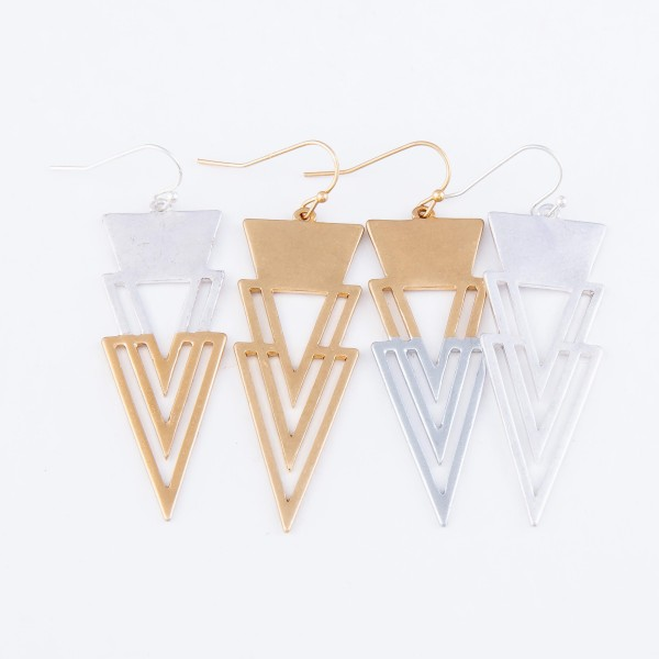"""Modern Style Triangle Drop Earrings.  - Approximately 2"""" L"""