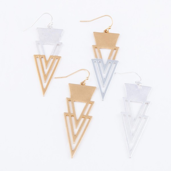 """Two Tone Modern Style Triangle Drop Earrings.  - Approximately 2"""" L"""