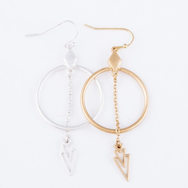 """Circular Drop Earrings Featuring Chain Link Arrow Detail.  - Approximately 2"""" L"""