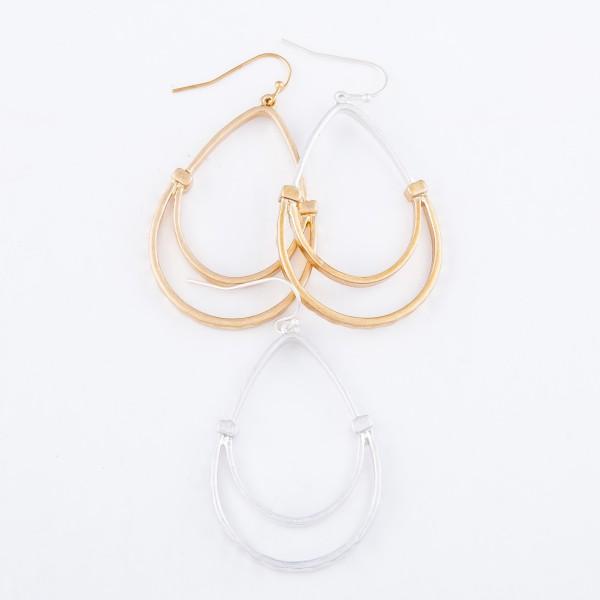 """Two Tone Metal Teardrop Earrings.  - Approximately 2"""" L"""