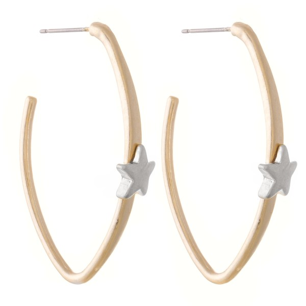 "Two Tone Oval Hoop Earrings Featuring Star Accent.  - Approximately 2"" L"