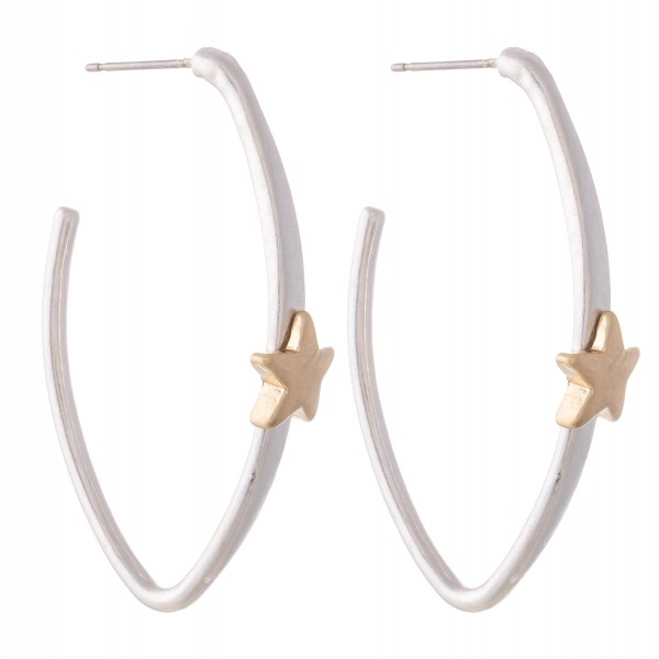 Wholesale two Oval Hoop Earrings Star Accent L