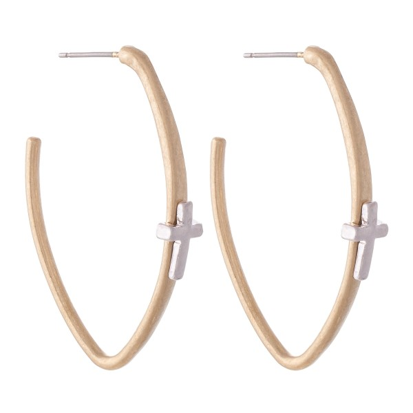 "Two Tone Oval Hoop Earrings Featuring Cross Accent.  - Approximately 2"" L"