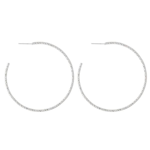 """Diamond Cut Textured Hoop Earrings.  - Approximately 2"""" in Diameter"""