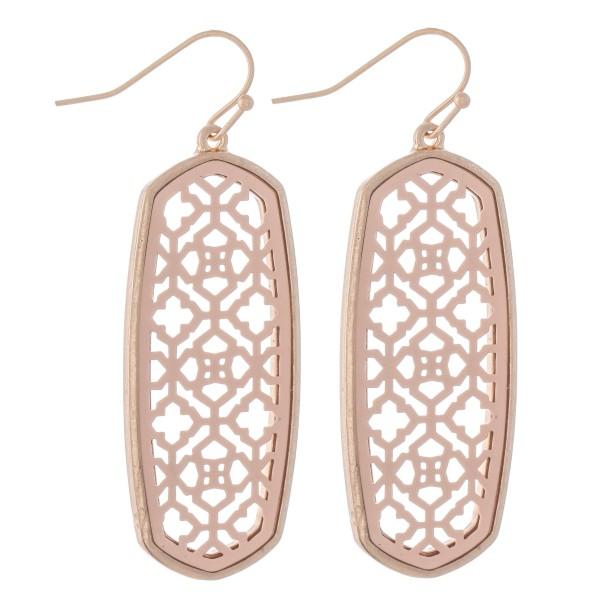 "Two Tone Filigree Oblong Drop Earrings.  - Approximately 2"" L"