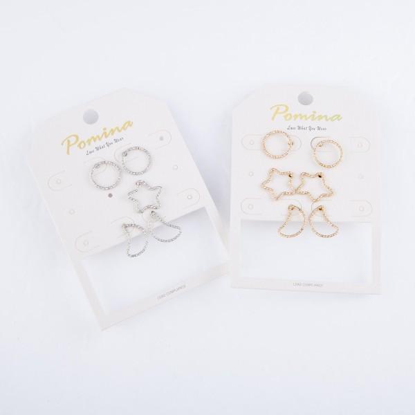 "Star & Moon Shape Stud Earring Set.  - 3 Pair Per Set - Stars / Moons / Circles - Approximately .5"""