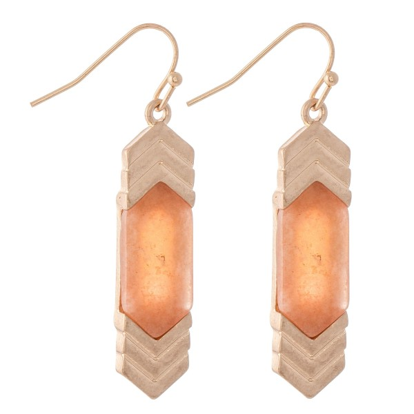 """Natural Stone Arrow Drop Earrings.  - Approximately 1.5"""" L"""