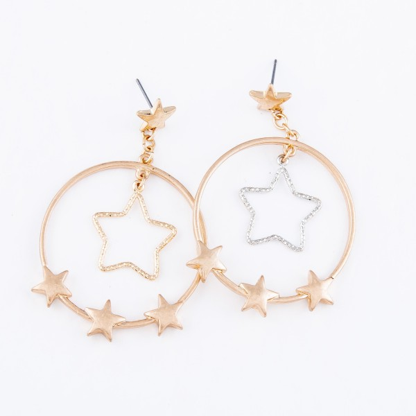 "Two Tone Circular Drop Earrings in Gold Featuring Nested Star Detail with Star Accents.  - Approximately 2.25"" L"