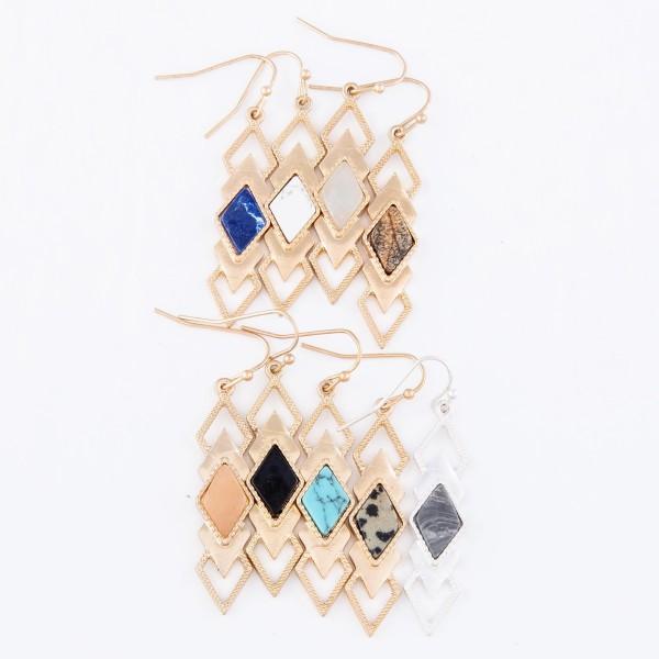 "Metal Encased Semi Precious Diamond Tiered Drop Earrings.  - Approximately 2"" L"