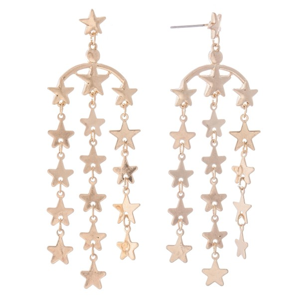 "Metal Star Tassel Drop Earrings.  - Approximately 3"" L"