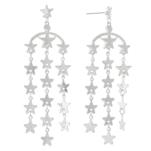 """Metal Star Tassel Drop Earrings.  - Approximately 3"""" L"""